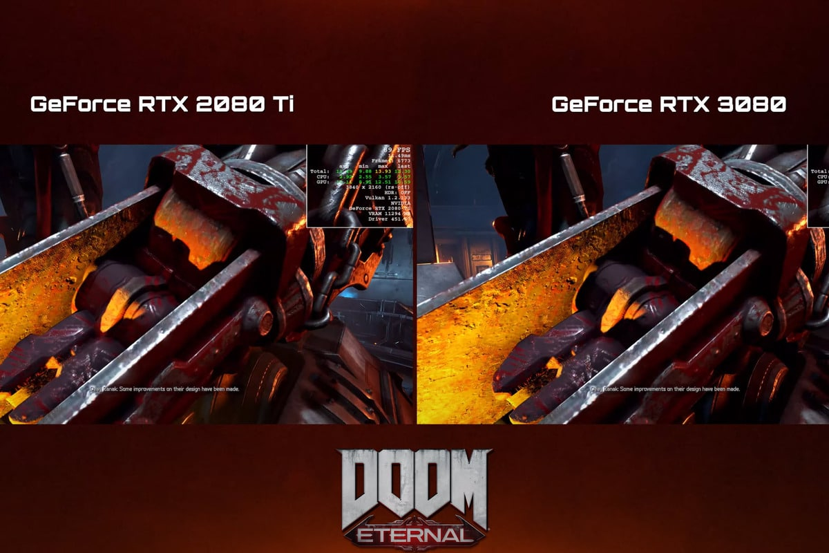 Watch the GeForce RTX 3080 get medieval on an RTX 2080 Ti in Doom Eternal